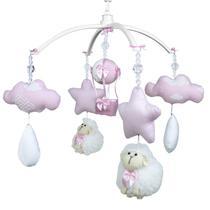 Móbile Musical Ovelha, Nuvens e Balão Rosa Quarto Bebê Infantil Menina - Potinho De Mel