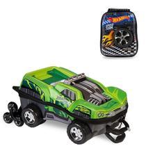 Mochila 3D com Rodinhas e Lancheira Hot Wheels Dawgzilla 2500DM19 Lançamento -