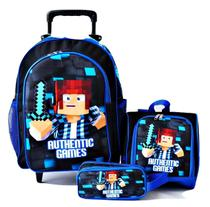 Mochila Authentic Games Azul Rodinhas Lancheira Kit - SCHOOL BAG