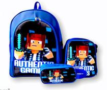 Mochila Authentic Games Costas Azul Lancheira - school bag