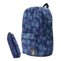 Mochila Bicicletas Azuis Retro + Estojo Escolar + Chaveiro - Polaris -
