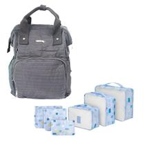 Mochila Bolsa Maternidade + Kit Organizador mala 6 pçs Nylon - Yepp