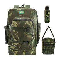 Mochila Camping Camuflada Exército  532+ pochete + garrafa - Denlex