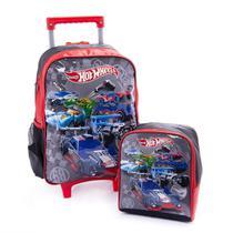 mochila com lancheira infantil hot wheels menino grande escolar de rodinhas - Luxcel