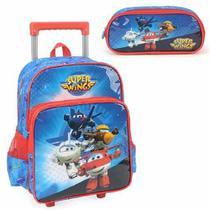 Mochila com Rodinhas Super Wings com Estojo Azul - Super wings jett