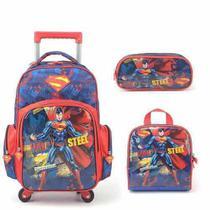 Mochila com Rodinhas Superman 360 com Lancheira e Estojo - Super man