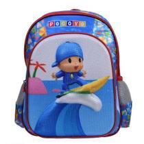 Mochila Costas Infantil Escolar Pocoyo 3D Alto Relevo Azul - Santino