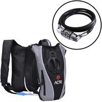 Mochila de Hidratação ACTE C1 1,5 L Slim Cinza + Cadeado para Bicicleta com Segredo ACTE SPORTS A15 -
