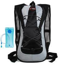 Mochila de Hidratação Preta e Cinza Impermeável C/ Bolsa Dágua 2 Litros Bike 2 Compartimentos - Zem