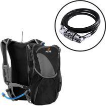 Mochila de Hidratação Sprint 2L Cinza ACTE C15 + Cadeado para Bicicleta com Segredo ACTE SPORTS A15 -