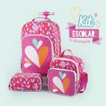 Mochila de rodinha infantil feminina pink pampili -