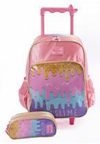 Mochila de rodinhas ice cream c/ estojo escolar meninas rosa - UP4YOU