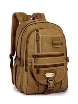Mochila Denlex De Lona 8140 Resistente Viagem Escolar Bege -