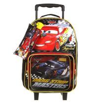 Mochila Escolar Carros McQueen de Rodinhas Dermiwil  com Lancheira e Estojo Tam G Ref 37337 -