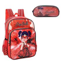Mochila Escolar de Costas Pop Dolls com Estojo -
