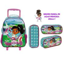 Mochila Escolar De Rodinha Princesa Nella + Estojo + Boneca - Xeryus