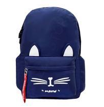 Mochila Escolar Feminina Infantil Juvenil Média Gatinha M831 Azul - Regal
