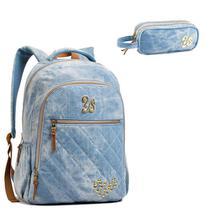 a2f741bea Mochila Escolar Feminina Seanite Jeans e Estojo Azul -
