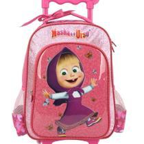 Mochila escolar infantil com rodinha da masha e o urso rosa - Luxcel -