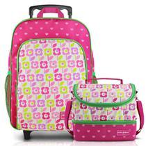 8d64c7657 Mochila Escolar Infantil Feminina de Rodinha + Lancheira - Jacki Design