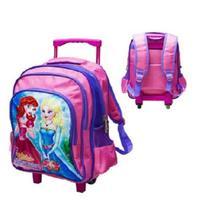 075eef8ad5e58 Mochila escolar infantil grande com rodinhas menina princesa com alça para  costas