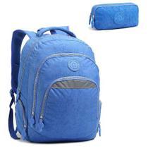 Mochila Escolar para Notebook com Estojo Azul - Seanite