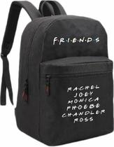 Mochila Escolar Passeio Série TV Friends Personagens Rachel Joey Monica Phoebe Chandler Ross Alça acolchoada Preto - Smart stamp
