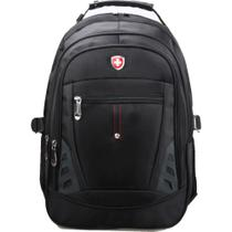Mochila Executiva p/ Notebook Interlagos, 3 Compartimentos com Zíper - Preto - Travel max