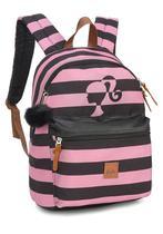 Mochila Feminina Barbie Rosa Listrada Pompom Original -