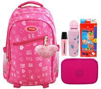 Mochila Feminina Escolar Preta Rosa 2102 + Lapis Faber Castell + Estojo + 1 Stabilo Rosa - Savaggia