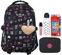 Mochila Feminina Escolar Preta Rosa 2102 + Lapis Faber Castell + Estojo + 1 Stabilo - Savaggia