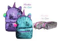 Mochila Feminina Paetê Muda De Cor Lantejoula + Kit Completo - Clio style