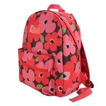 Mochila feminina pequena passeio escolar floral Vermelha - Jacki design