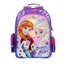 Mochila G Frozen Escola Menina Original Rosa e Roxo - Dermiwil