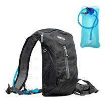 Mochila Hidratação 2 Litros Impermeável C/ Bolsa Dágua Bike Preta - Luatek