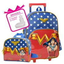 mochila infantil feminina mulher maravilha lancheira - Luxcel