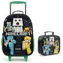 Mochila Infantil Minecraft De Rodinha Com Lancheira Dmw -