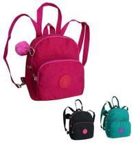 Mochila juvenil feminina mini basic colors com chaveiro pom pom 8,5 - Bf brasil -