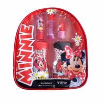 Mochila Kit Beleza Maquiagem Infantil Minnie Mouse Disney Batom Brilho Esmalte Shampoo Condicionador - VIEW