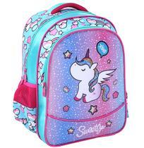 Mochila  kit  infantil feminina unicornio 15,5  + estojo unicornio kit magico - Bf brasil