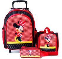 Mochila Minnie Mouse Rodinhas Lancheira Estojo Kit - Schol Bag