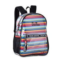 Mochila now united transparente com saco colorido removível nu3255 - CLIO