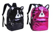 Mochila paetê cachorro preto/rosa clio girls cg2034 -
