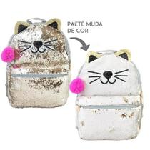 Mochila paetê gato branco/dourado clio girls cg2033 -
