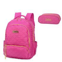 Mochila Para Notebook Penelope Charmosa e Estojo Pink -