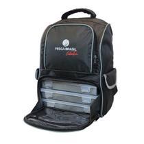 Mochila Pesca Brasil Fishing Bag com 3 estojos incorporados -