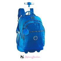 Mochila Rebecca Bonbon Crinkle com Rodas  Azul -
