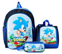 Mochila Sonic Azul Costas Lancheira Estojo Kit - School Bag