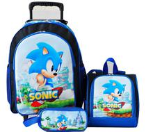 Mochila Sonic Azul Rodinhas Lancheira Estojo Kit - School Bag