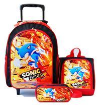 Mochila Sonic Force Rodinhas Jogo Lanch Estojo Kit - School Bag
